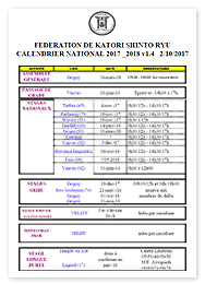 Calendrier National FKSR 2017-2018